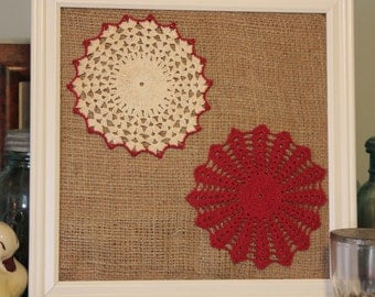Burlap and Upcycled Doily Bulletin Board
