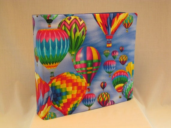 12x12 Postbound Fabric Scrapbook Photo Album Memory Book Handmade Hot Air Balloon Flying Gondola Basket Ballooning AO25A Album Outfitters