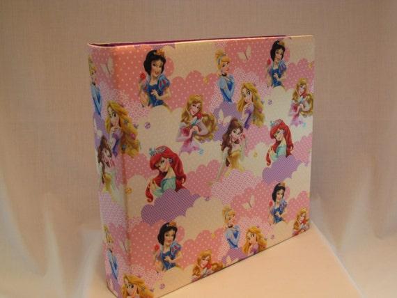 12x12 Postbound Fabric Scrapbook Photo Album Memory Book Handmade Baby Girl Disney Pink Princess Belle Ariel Tangled AO48 Album Outfitters