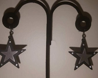 Flat Black Star Earrings - Black Metal Star Earrings - Crystal Star Earrings - Silver Star - Star Earrings - Black Earrings - Black Stars