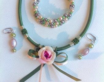 Green romantic jewelry set