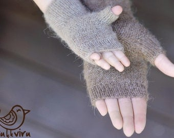 Fingerless mitts, hand knit baby mittens, alpaka wool fingerless mittens, hand knit