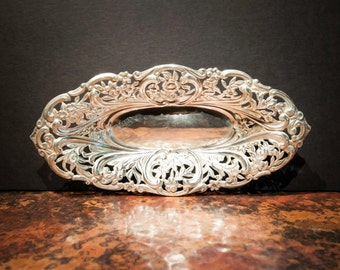 Small British 1893 Antique Sterling Silver Repousse Tray