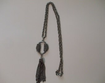 Vintage Sarah Coventry Antique Lady Pendant Necklace Silver Tone with Tassel Signed New Never Worn