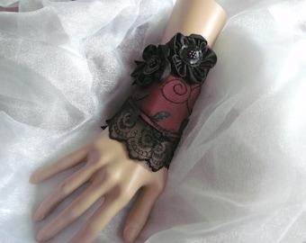 Cuff Bracelet, Fabric Cuff Bracelet, Gothic Cuff Bracelet, Victorian Cuff Bracelet, Steampunk Cuff Bracelet, Blood Red Taffeta, Lacy, Beaded