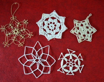 Vintage Handmade White Crochet Ornaments (Lot 1)