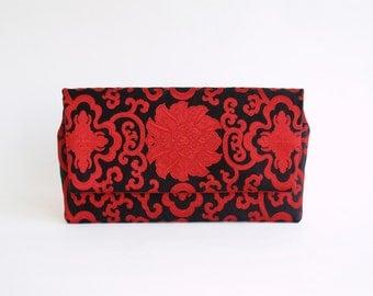 Clutch bag, red black purse, evening bag