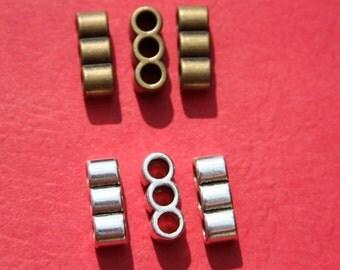 2 triple hole strand separators, 5mm leather cord 3 hole separator, strand separator(T598-T587) Qty 2