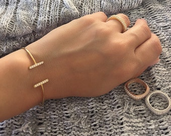 Adjustable double bar silver bangle. Cz double bar gold adjustable bangle. Cz double bar rose gold adjustable bangle. Adjustable bangles.