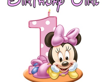 1st Minnie Mouse Baby Personalized Birthday Party T Shirt Tee Boys Girls 1st 2 3 4 5 6 7 8 9