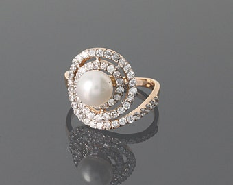 Pearl ring - Wedding jewelry - Bridesmaid ring - White pearl ring - Bridesmaid jewelry - Wedding gold ring