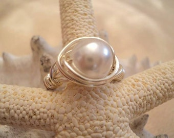 Pearl Ring, Wire Wrapped Ring, Wrapped Pearl Ring, Wire Pearl Ring, Boho Jewelry, Boho Ring, Bridal Jewelry, Bridesmaid, Mother of Bride