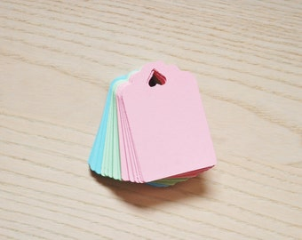 Pastel spring inspired cardstock tags with heart - pack of 60 tags. Pink tags, blue tags, mint green tags, gift tags, pastel tags.
