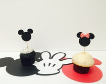 Minnie mouse and Mickey mouse cupcake toppers for birthday parties, party,baby showers, dessert table, food picks,set of 12
