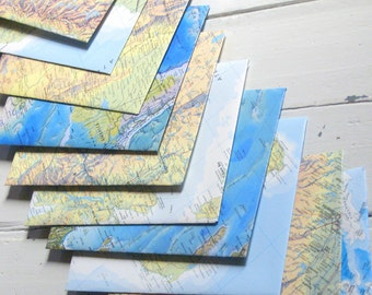 """Hand made vintage map envelopes, set of 10 greeting card sized approx 5.2"""" x 7.2"""", hand cut from vintage world atlas pages"""
