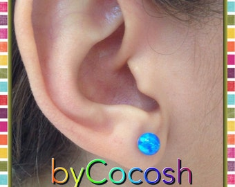 earrings, 6mm Synthetic opal bead/Ball/Sphere 925 Sterling Silver Ear Stud Earing pair. FREE SHİPPİNG,bycocosh