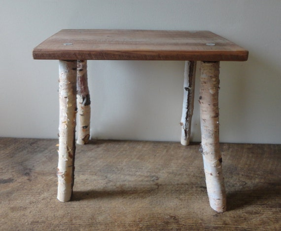 White Birch wood Primitive bench Rustic stool Stick stool