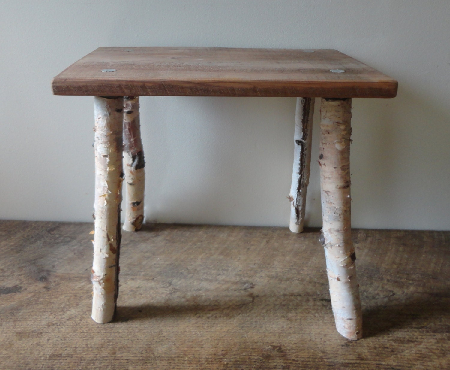 White birch wood primitive bench rustic stool stick