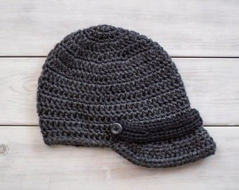 Grey and Black Newspaper Boy Crochet Hat