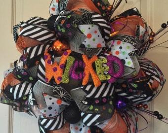 Wicked Halloween Wreath; Orange and Black Mesh Wreath; Fall Wreath; Front Door Wreath; High Quality Wreath; Halloween Wreath with Ornaments