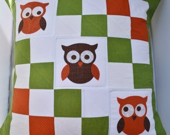 Owl Pillow Cover, Pillow Sham, 24x24, Quilted, Patchwork, 100% Cotton