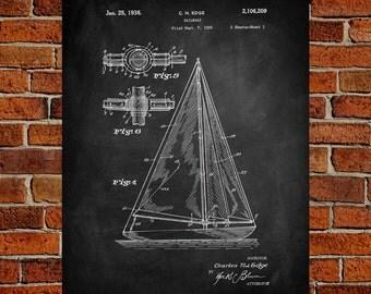 Sailboat Fine Art Print, Patent, Vintage Art, Blueprint, Poster, Wall Art, Poster, Décor
