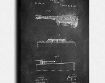 Guitar (Stratton) Canvas Print, Guitar (Stratton) Patent,  Vintage Art,  Blueprint,  Poster, PatentPrints, Wall Art, Decor [MU28C]