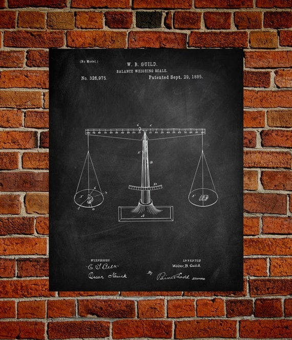 Poster Weights Etsy: Balance Weighing Fnie Art Paper Print Scale Patents Weight
