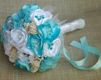 Beach wedding bouquets, sea shell bouquet, seaside bouquet, bridal bouquet, bridesmaid bouquet, bouquet of flowers