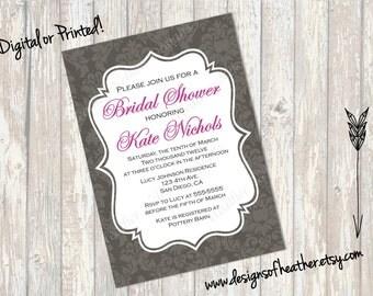 Gray Damask Bridal Shower Invitation