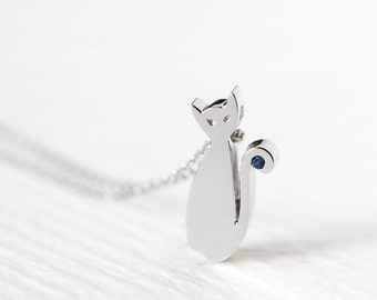 Sapphire Cat Necklace 925 Sterling Silver Animal Charm Pet Jewelry September Birthstone