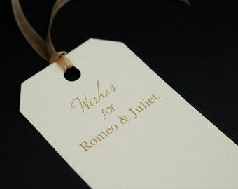 Wedding Wishes Tags - Personalized Tag with Gold Ribbon - Wishing Tree - Bride & Groom Names - Wedding Date - Bridal Shower Tag - Prestrung