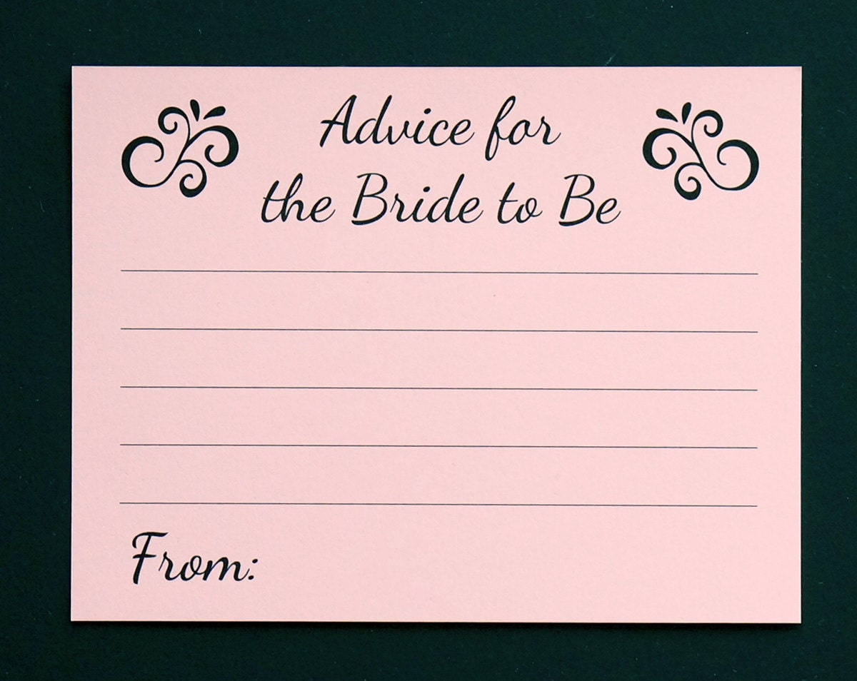Bridal Shower Card Blush Pink Wedding Note Cards Advice