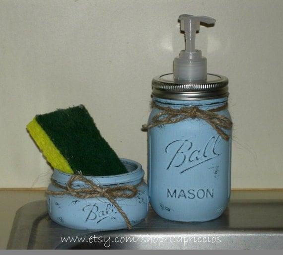Soap Pump Sponge Holder Kitchen Set Bath Set Distressed