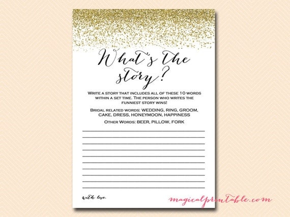 What's The Story Write A Story Bridal Shower Printable