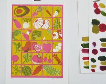 Vegetable Alphabet Screen Print
