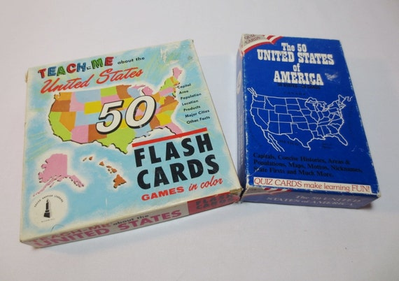 Bradley (IL) United States  City new picture : United States Flash Card Sets / Set of Two by loftydreamsvintage
