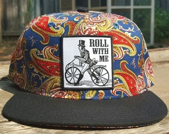 Roll With Me Cyclist Lovers Blue Paisley Snapback