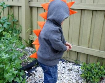 Dino Hoodie - Dinosaur Hoodie Dark Grey