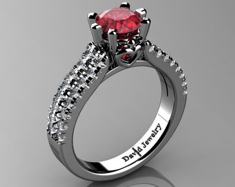 Classic 14K White Gold 1.0 Ct Ruby Diamond Solitaire Engagement Ring R1027-14KWGDR