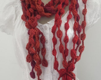 Ready to ship !crochet scarf - beads / chain