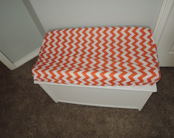 Orange Chevron Changing Pad Cover