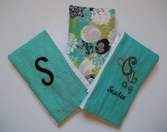 Personalized Burp Cloths - Set of 3 (Teal Paisley)