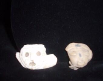 Two Pre-Columbian heads