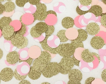 "Handmade ""ALL that GLITTERS is GOLD"" Sparkly Gold & Pink Confetti"
