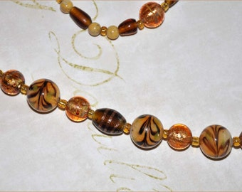 Caramel Swirl Beads, Tan Beaded Necklace, Lampwork Necklace, Gold Foil Beads, Glass Bead Necklace, Brown and Ivory Beads