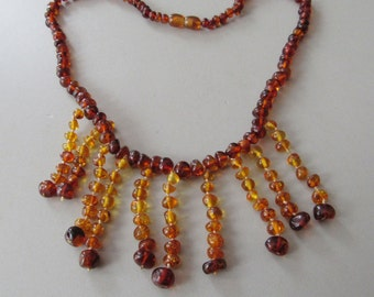 Baltic Amber Fringe Bib Graduated Necklace