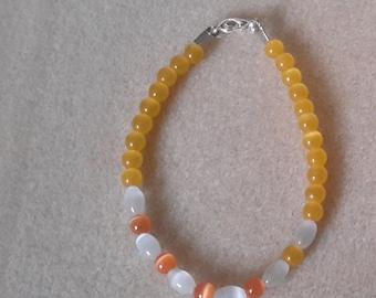 Anklet bracelet with cat's eye beads