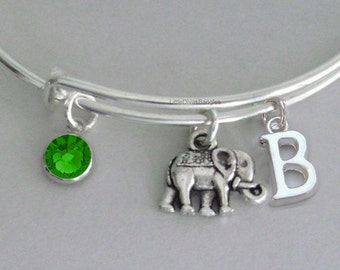Elephant  W/ Birhstone / Initial / Gift For Her / Silver Infinity  / Under Twenty / Birthstone Bracelet  / Stackable Bangles / Usa E1