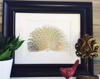 Peacock decor, art prints, Peacock art, peacock decor, gold foil print, home decor, Peacock wall art, birds